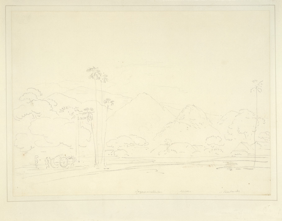 Landscape with hills and palm trees and the village of Tottiyam. 2-3 June 1792.